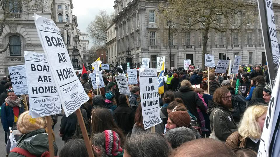 The Boats are Homes march reaches Downing Street, 16th April 2016
